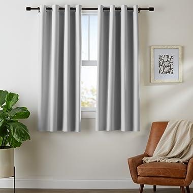 AmazonBasics Room Darkening Blackout Window Curtains with Grommets Set, 42  x 63 , Light Grey