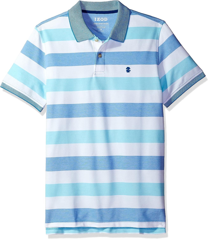 IZOD Mens Slim Fit Advantage Performance Short Sleeve Stripe Polo