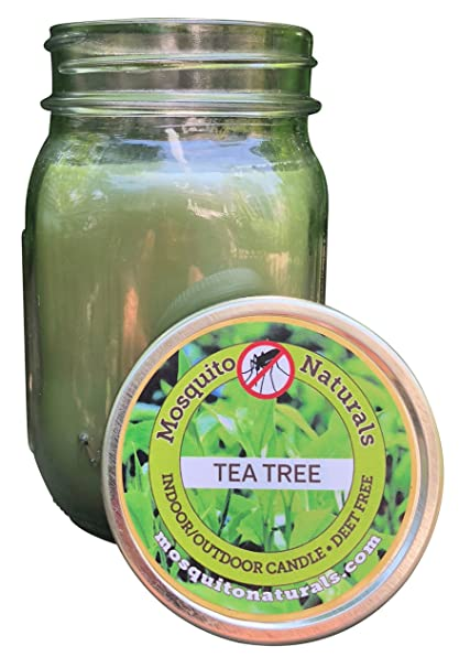 Natural Tea Tree Mosquito Repellent Candle Indoor/Outdoor - 88 Hour Burn -  Naturally Repels Insects with Essential Oils, Citronella Soy, Mason Jar,