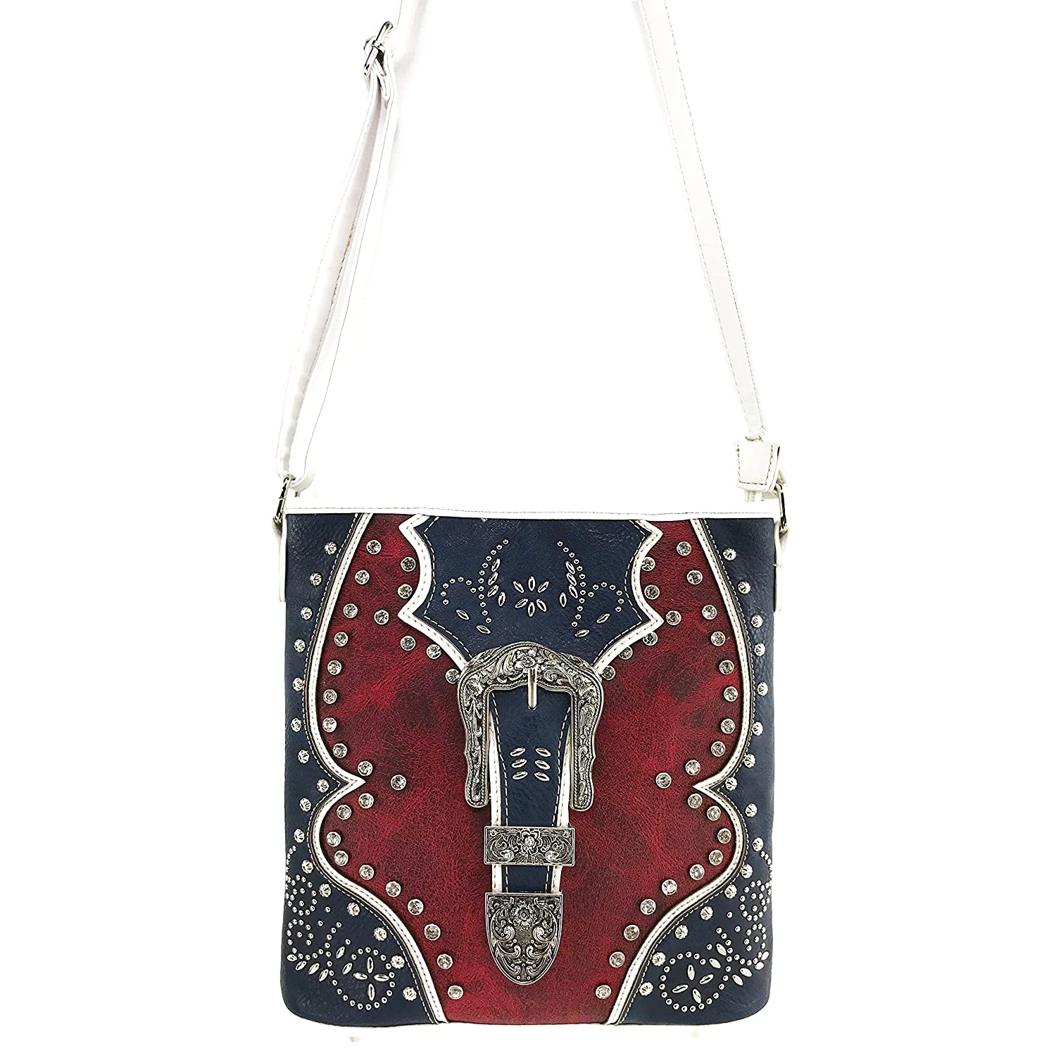 Justin West Floral Studs Laser Cut Western Rhinestone Buckle Messenger Purse Conceal Carry