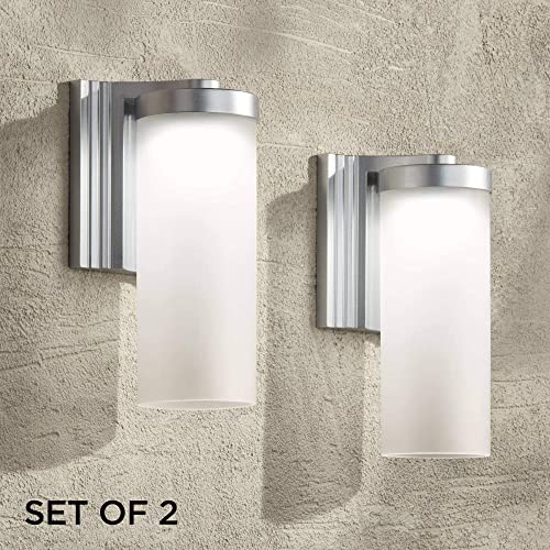 Cleo Modern Outdoor Wall Light Fixtures Set of 2 LED Silver 10 1/2″ Open Bottom Frosted Gla