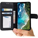 Abacus24-7 iPhone X Case, Leather Wallet with Flip Cover, Credit Card Pockets and Stand, Black