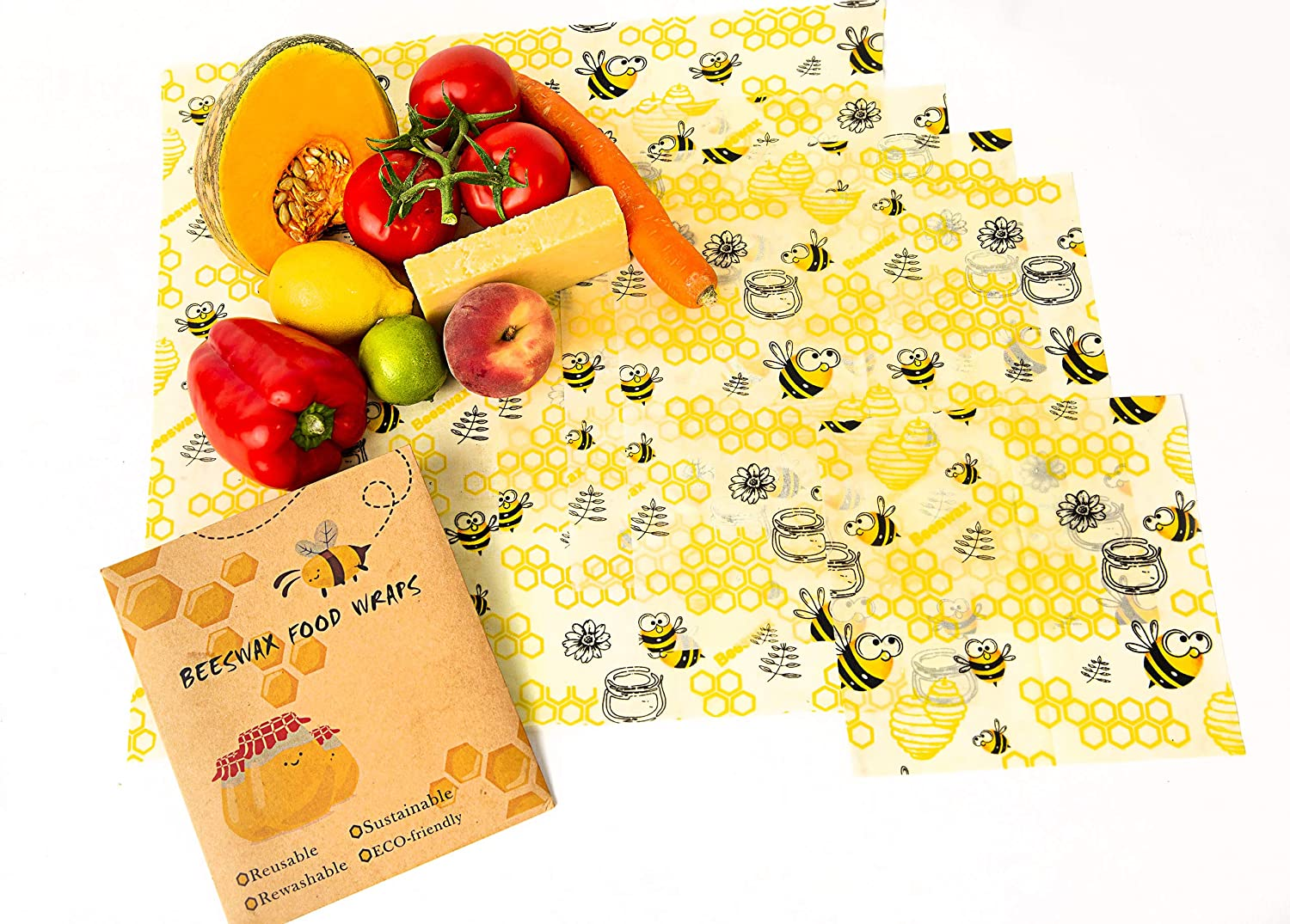 Ocean Clear's 5 pack with extra large reusable beeswax food wraps | food storage 100% non plastic
