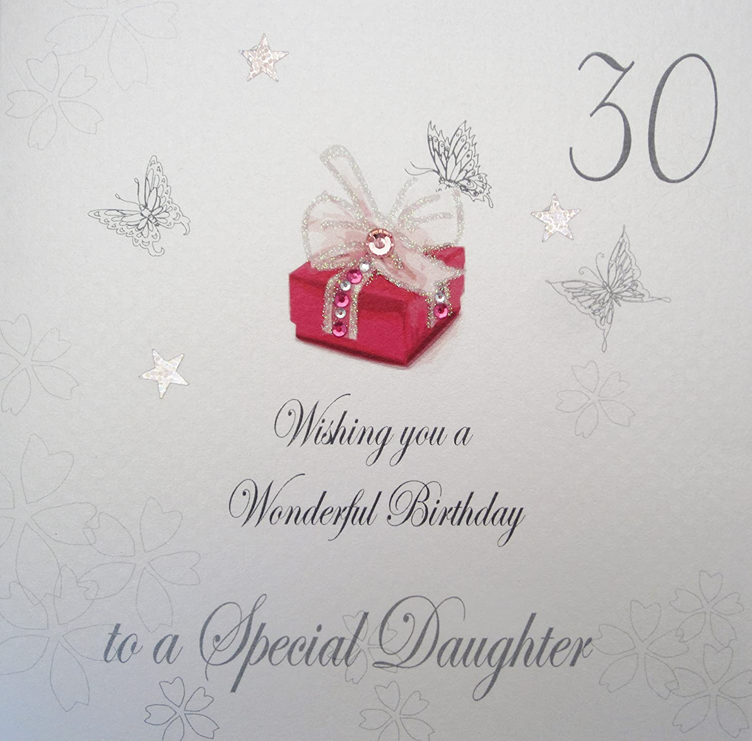 White cotton cards bdp30 d 30 wishing you a wonderful birthday to a white cotton cards bdp30 d 30 wishing you a wonderful birthday to a special daughter handmade 30th birthday card white amazon kitchen home kristyandbryce Choice Image