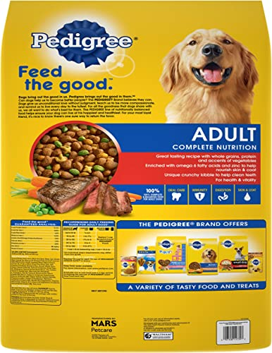 PEDIGREE Adult Complete Nutrition Grilled Steak Vegetable Flavor Dry Dog Food 30 Pound