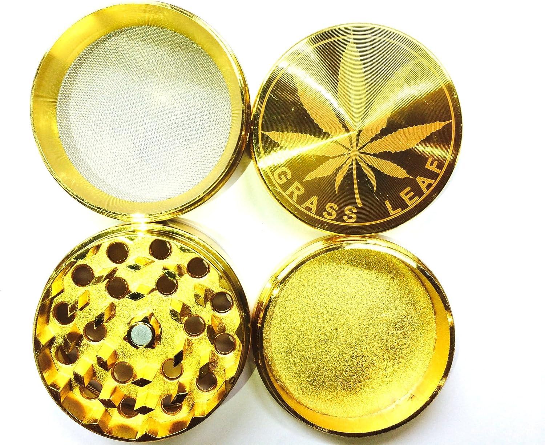 raccoglitore in cristallo TRENDZ Macina erbe con stampa dorata in metallo 1 macinatore 4 parti 50MM con denti di diamante in solido colore oro