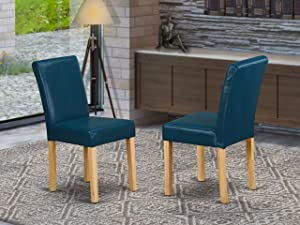 East West Furniture Parson Chairs - Comfortable Oasis PU Leather, Wooden Oak Finish Legs Modern Upholstered Dining Chairs - Set of two