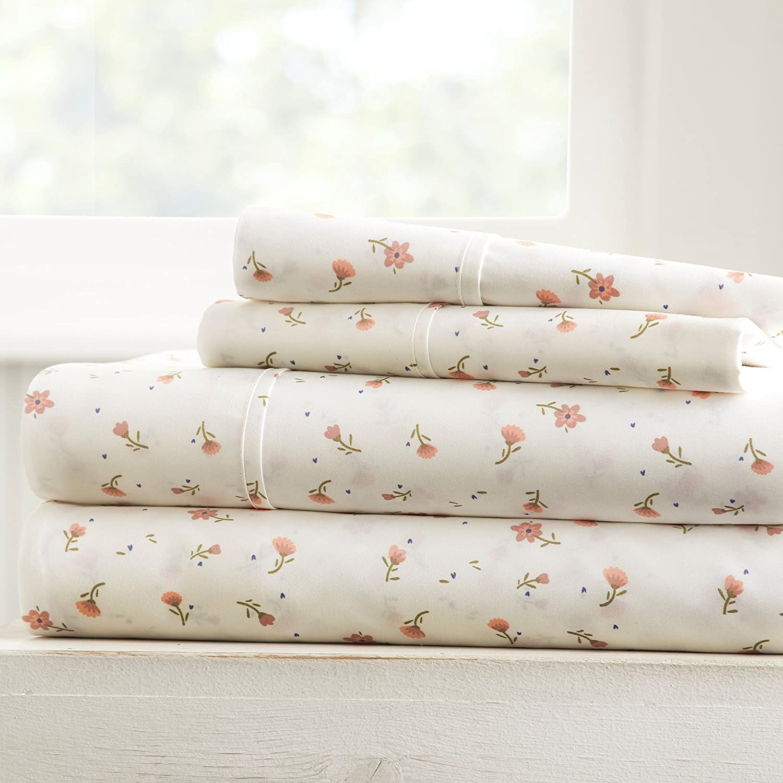 Becky Cameron Soft Floral Patterned 4 Piece Sheet Set Queen Pink