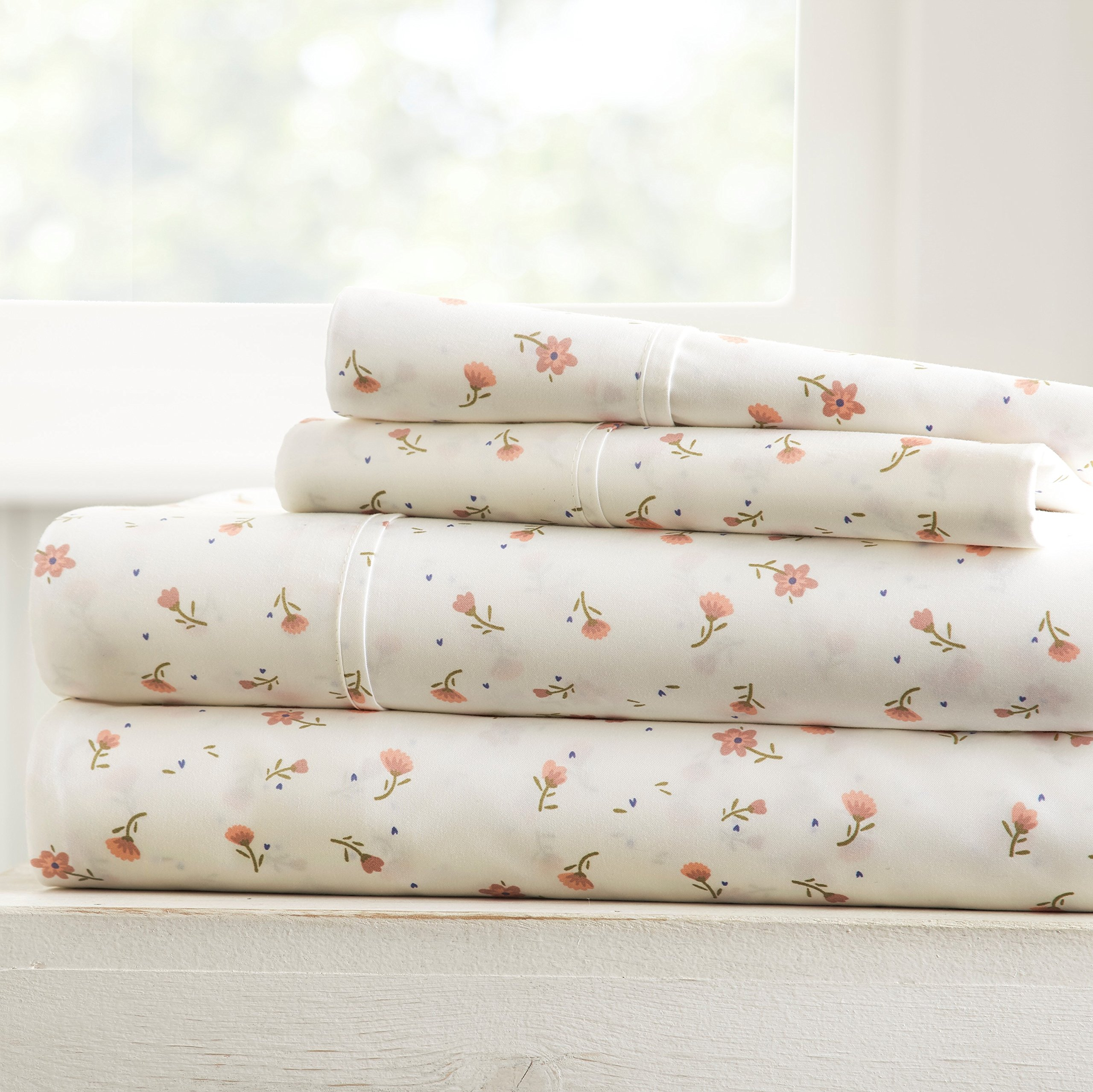 Becky Cameron Soft Floral Patterned 3 Piece Sheet Set, Twin, Pink