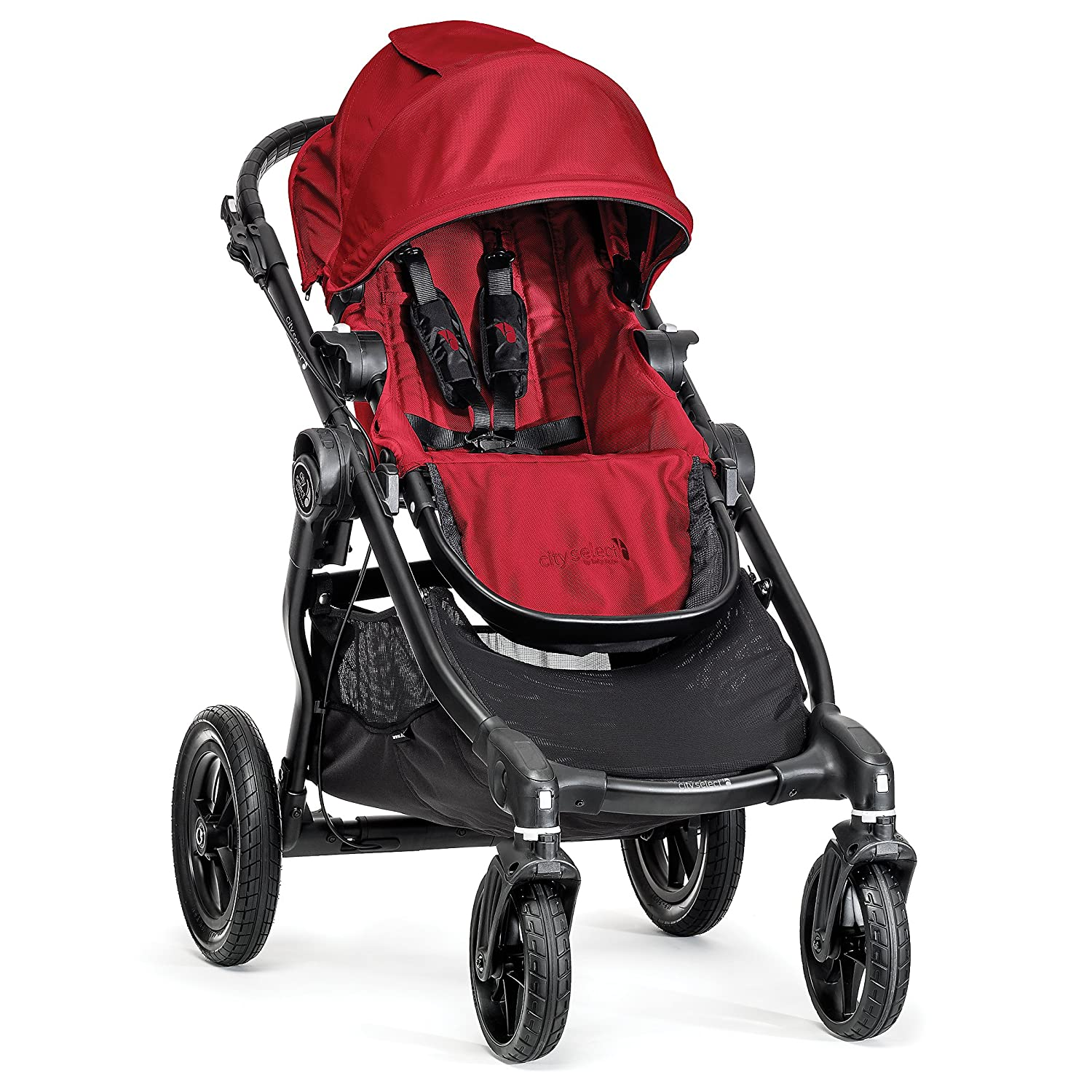 Baby Jogger City Select Stroller – 2018 Baby Stroller with 16 Ways to Ride, Goes from Single to Double Stroller Quick Fold Stroller, Red
