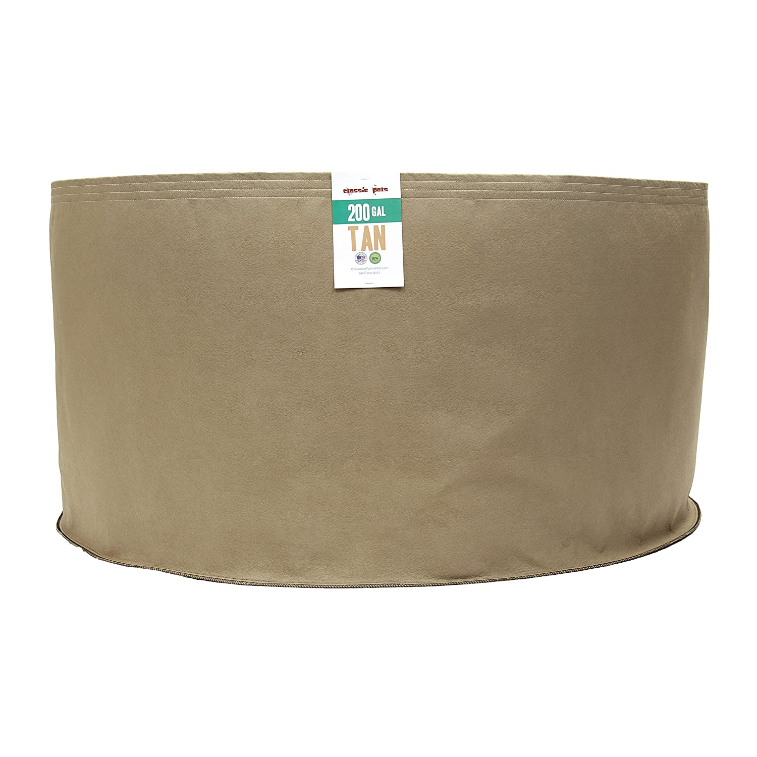(50 Pack) 200 Gallon Tan Grassroots Fabric Pot - Grow Pot and Aeration Container