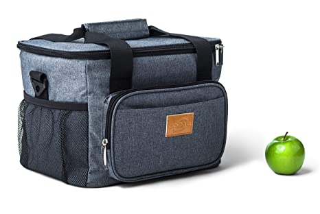ca0a2929e67f Large Adults 15L-24Can Thermal Insulated Reusable Lunch Bag, Heavy-Duty  Leakproof Cooler Lunch Box For Men, Women Work Picnic bbq Camping Beach  Hiking ...