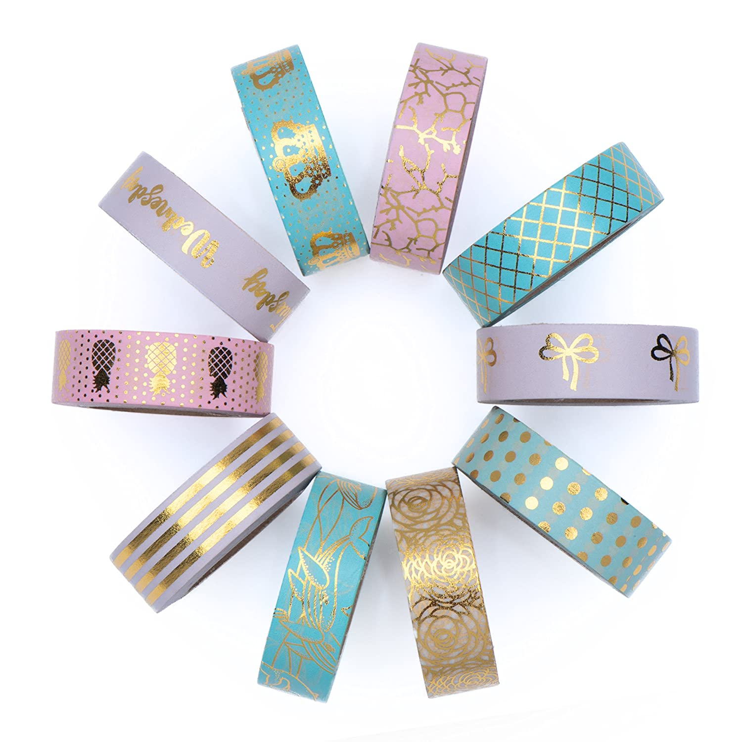 Washi Tape Set of 10 Cute Gold Foil Rolls - Extra Long 33 Feet - Decorative Masking Tapes Great for DIY Washi Tape Arts and Crafts Projects; Planners, Scrapbooking, Wall Art, Bullet Journals Rosie Dawn 4336847171