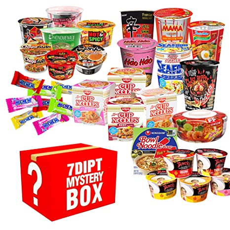 Mystery Asian Instant Ramen Variety Bundle, Cup & Bowl, Including - Nissin, Nongshim, Samyang, Mama, Acecook, Tapatio, Indomie, Daebak etc. (10 Pack Assorted) with Complementary 4 Piece Hi-Chew