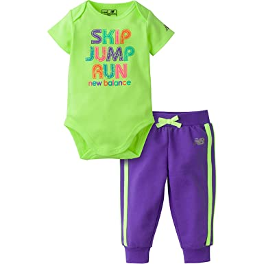 86a9f04c8c2f3 Amazon.com: New Balance Girls' Bodysuit and Jogger Pant Sets: Clothing