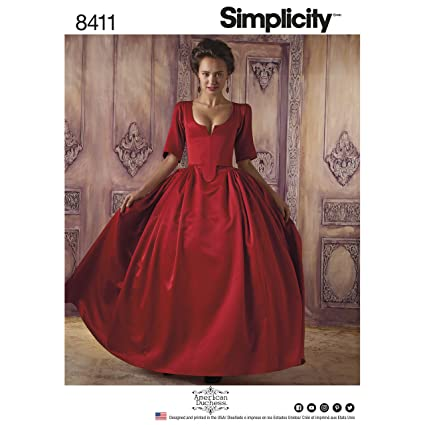 Simplicity Pattern 8411 Women's 18th Century Costume, Paper, White, 22.02 x 15.02 x 1.02 cm