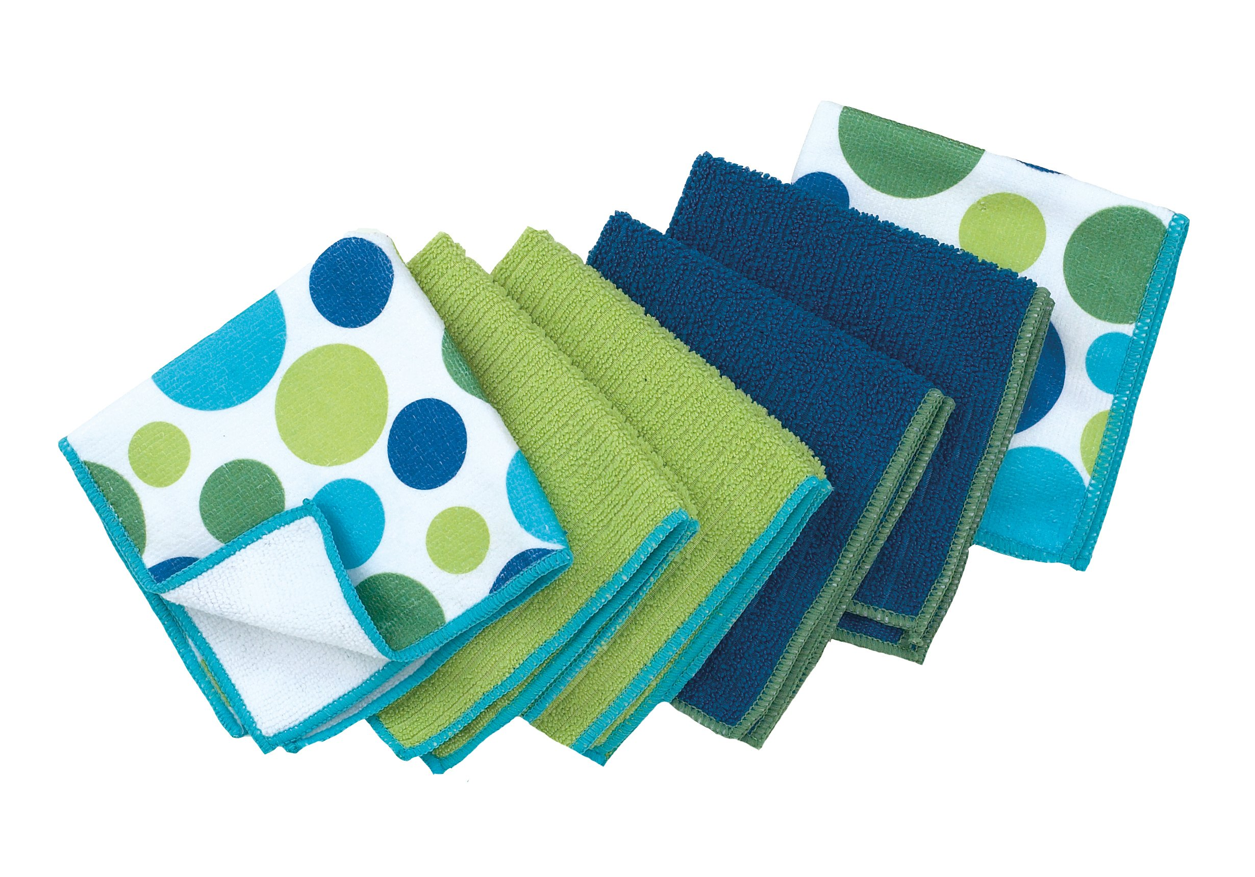 Ritz Microfiber 12 by 12-Inch 2 Polka Dot and 4 Solid Kitchen Dish Towels, Blue/Green, 6-Pack