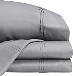 Royal Borough Bed Sheet Set with 100% Tencel Fair Trade Certified Luxurious Hand Feel 300 Thread Count (Medium Gray, King)