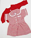 MEDIUM DOLLS SUMMER UNIFORM RED 18-20inch 45-50 cm DOLLS AND BEARS,TO FIT DOLLS SUCH AS BABY ANNABELL 46CM