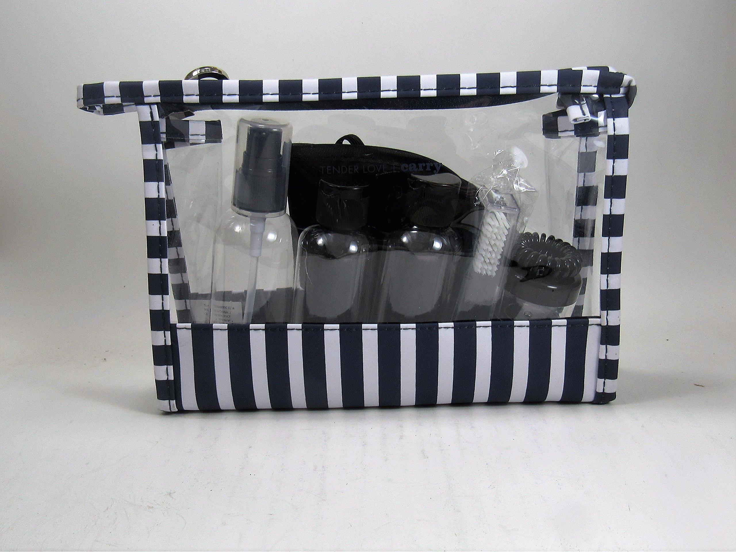 Travel Bag With Eye Mask And Bottles Toothbursh Spray Bottle in Navy White And Clear Bag