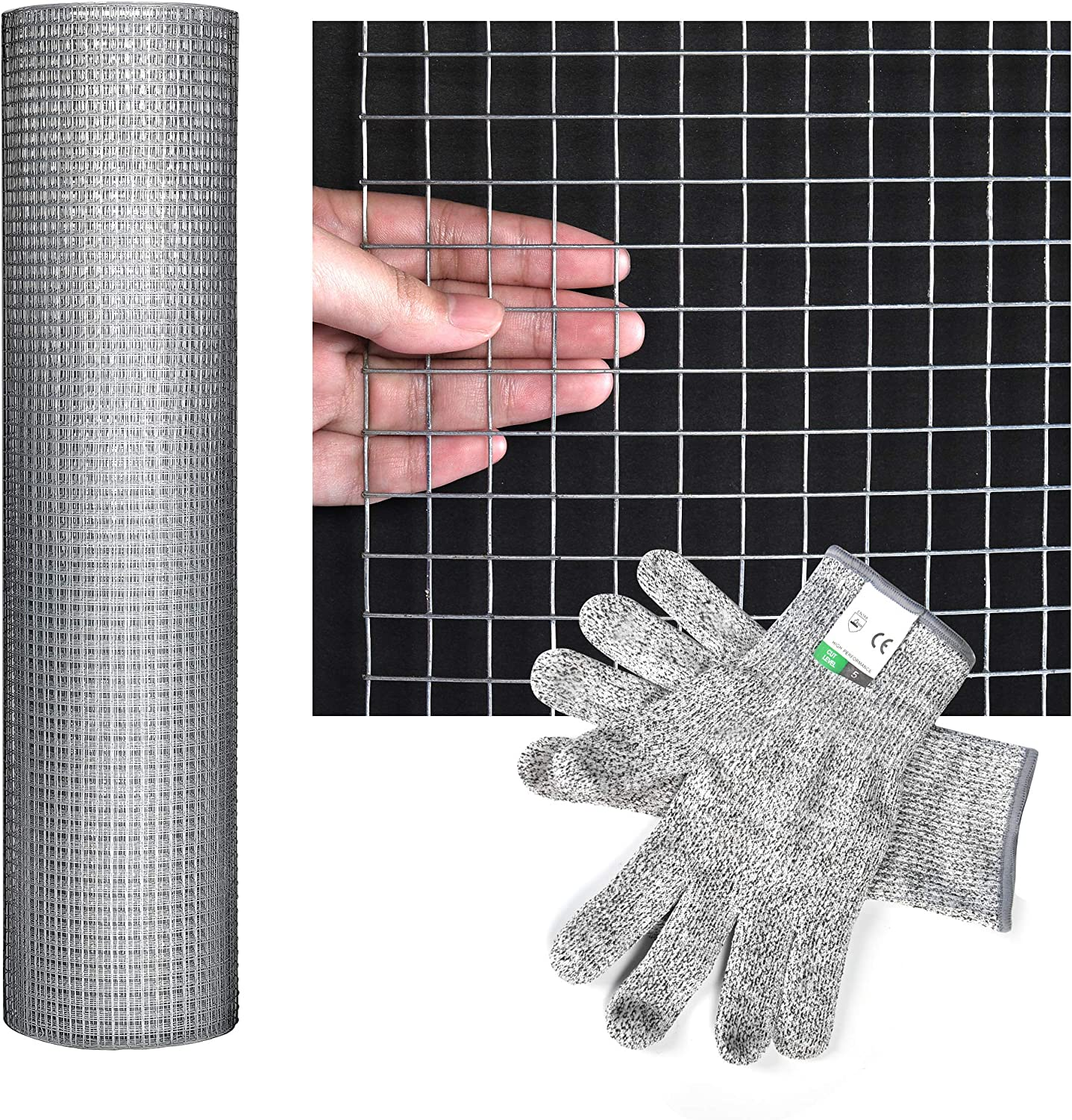 Hardware Cloth - 48'' x 40' Welded Cage Wire Chicken Fence mesh, 1/2 inch Square 19 Gauge Galvanized Wire mesh Welded Wire, Fence mesh for Chicken Coop, Gutter Guard, Animal Control and Garden Use