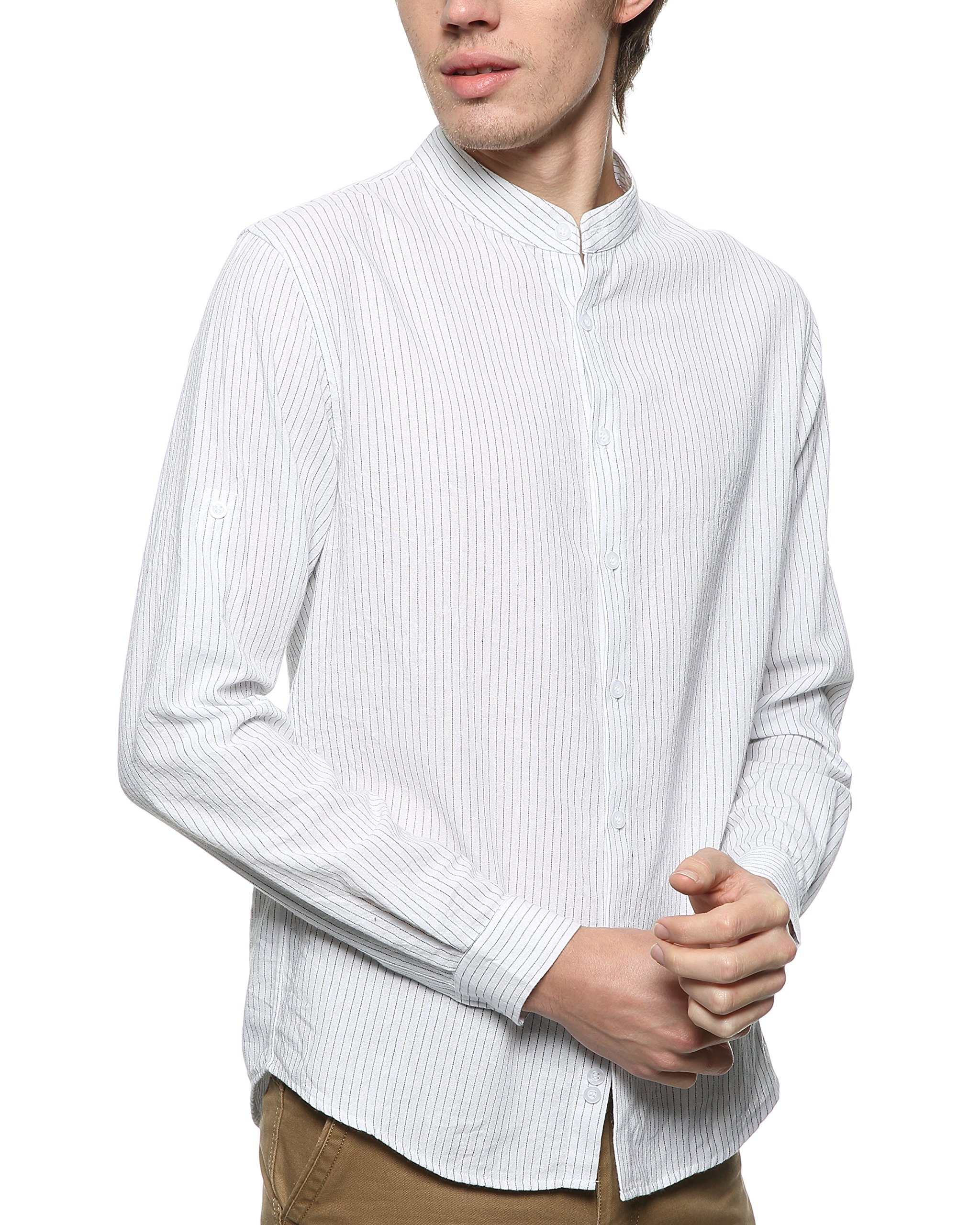 BYLUNTA Men Regular Fit Band Collar 100% Cotton Pinstripe Long Sleeve Daily Office Casual Business Shirt (Large,White)