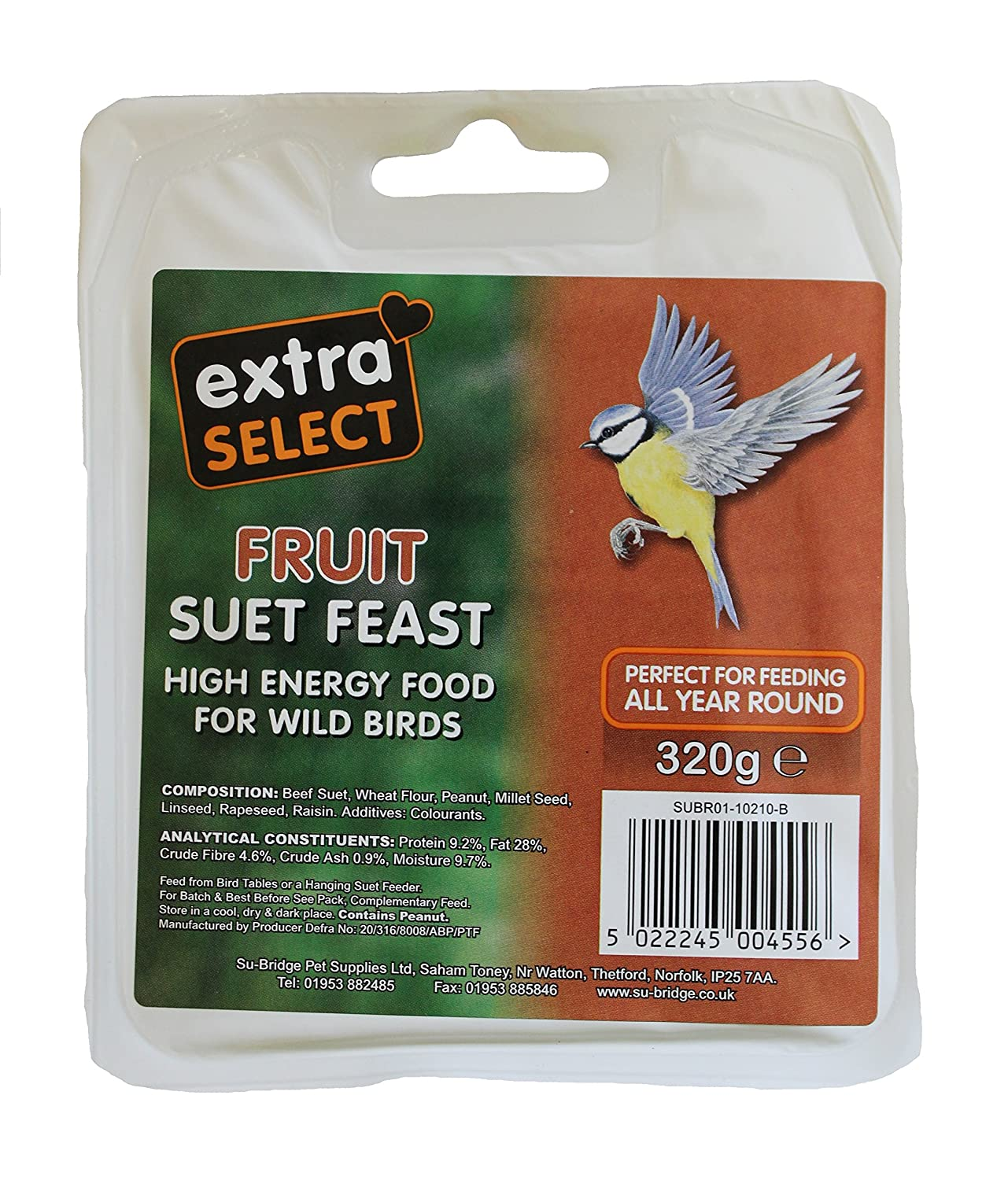 Extra Select High Energy Suet Pellets Fruit Tub 3kg Su-Bridge Pet Supplies Ltd 08WB087