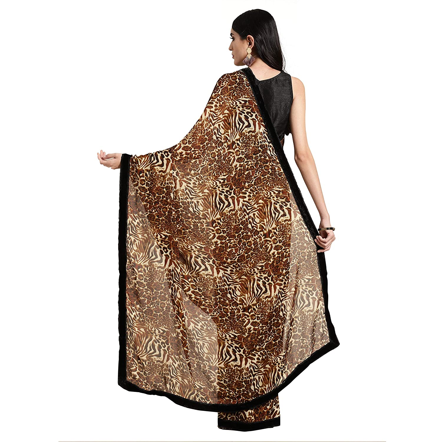 Best Brown Crepe with Blouse Piece Saree Collection