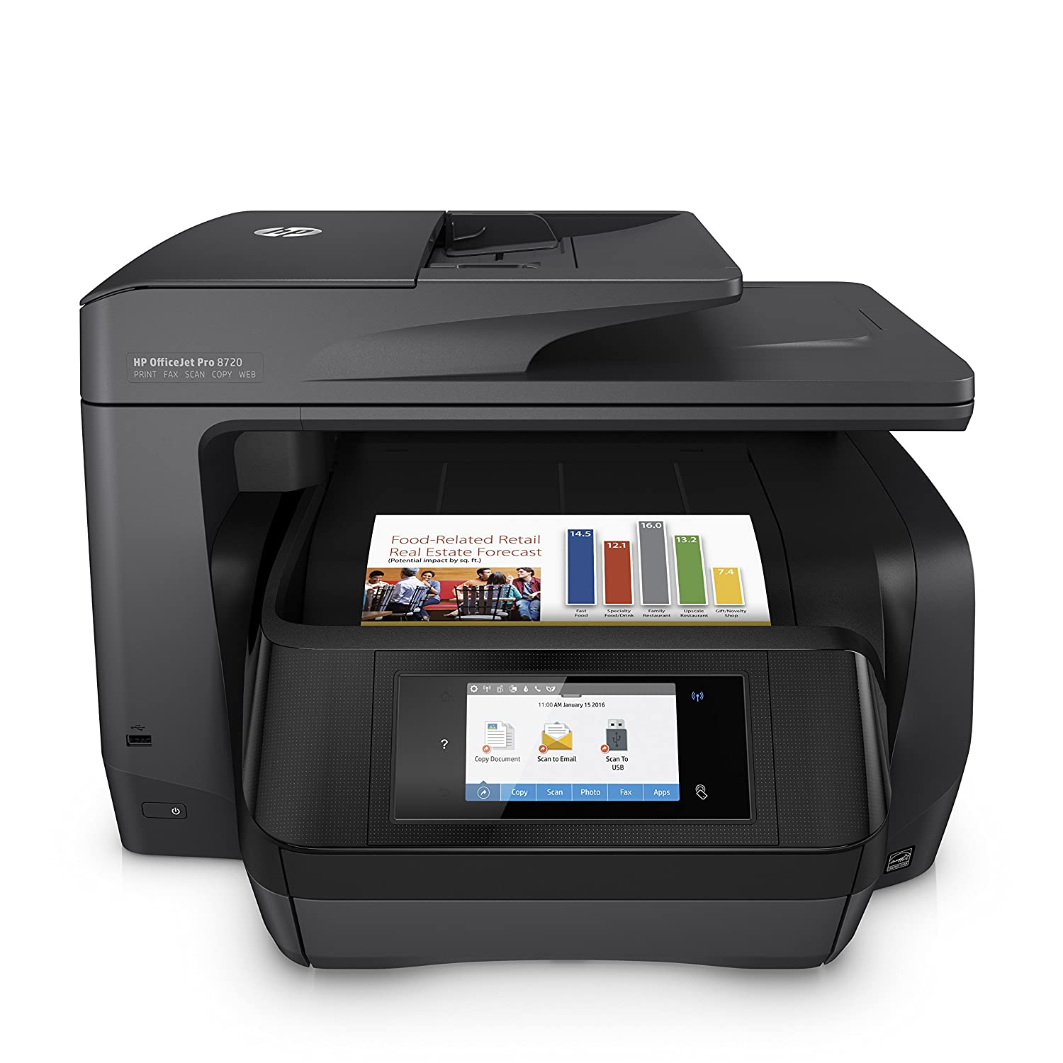 HP OfficeJet Pro 8720 All-in-One Wireless Printer with Mobile Printing, Instant Ink ready - Black (M9L74A)