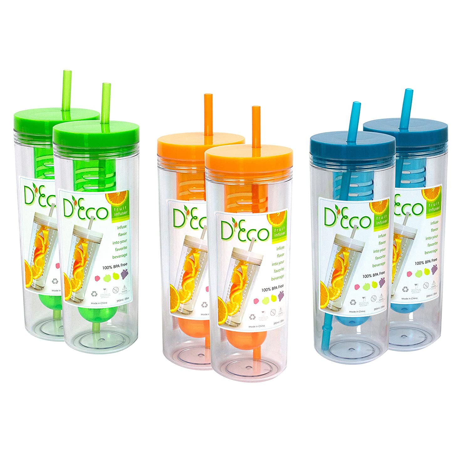 Fruit Infuser Water Bottle by D'Eco (Blue) Deco DCO-BTL