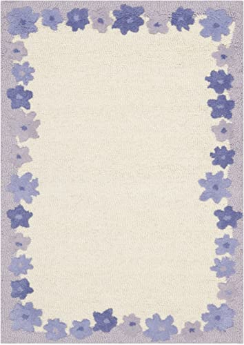 Safavieh Safavieh Kids Collection SFK357A Handmade Ivory and Lavender Cotton Area Rug 2 x 3