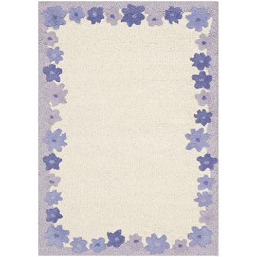Safavieh Safavieh Kids Collection SFK357A Handmade Ivory and Lavender Cotton Area Rug 3 x 5