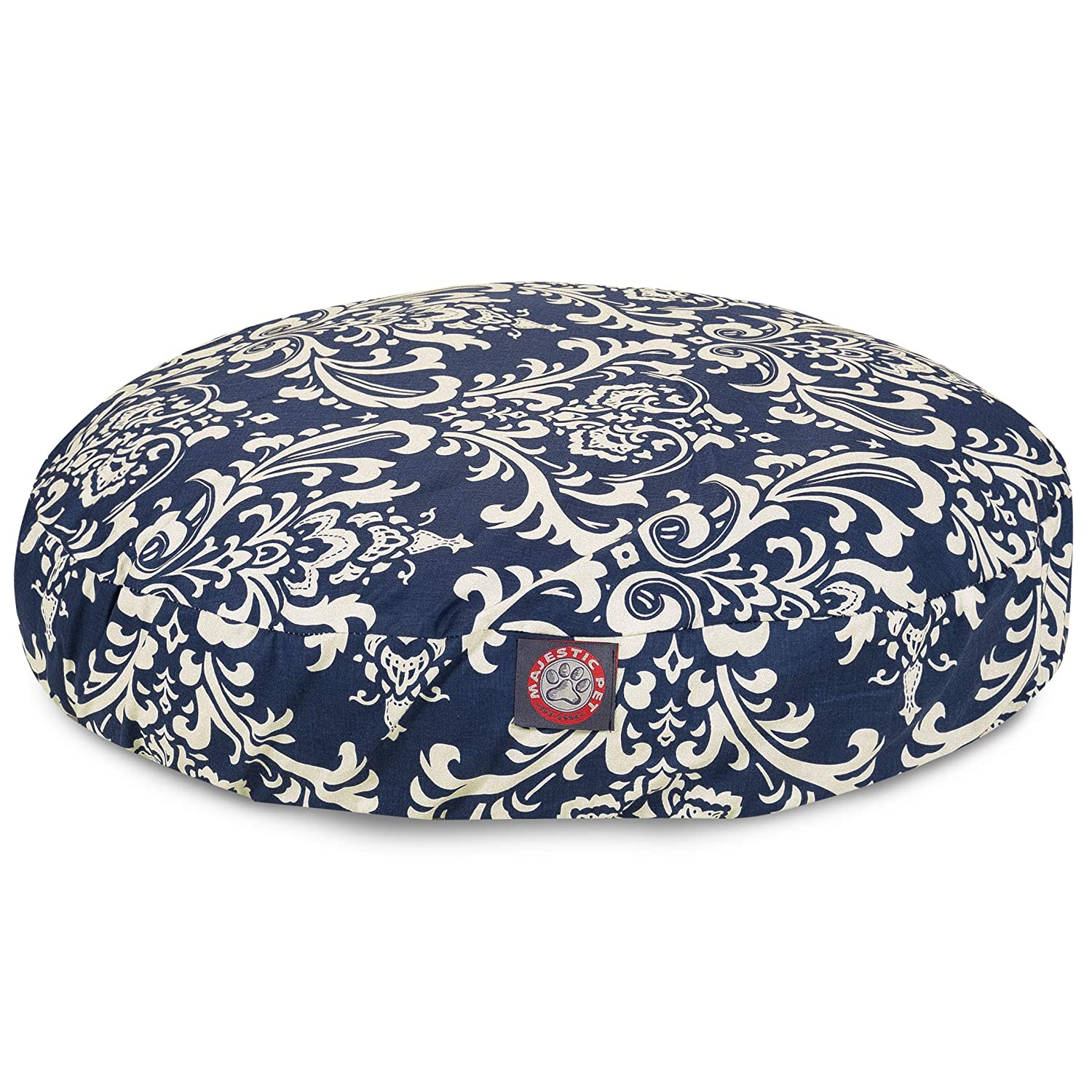 Navy bluee French Quarter Small Round Indoor Outdoor Pet Dog Bed with Removable Washable Cover by Majestic Pet Products