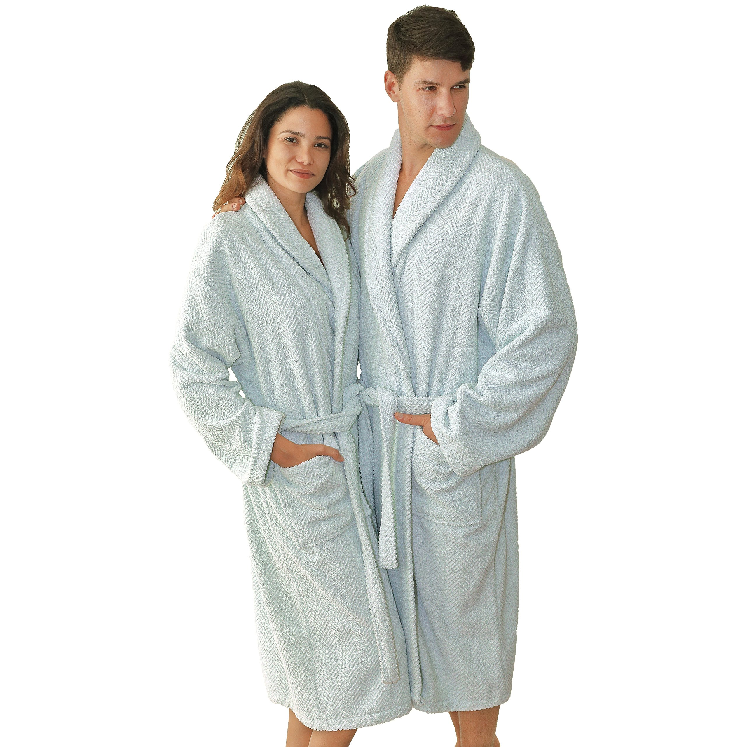 46 Inches Ice Blue Solid Color Small Medium Unisex Bathrobe, Light Blue Comfortable Spa Robe For Men And Women, Soft Cozy Luxurious Herringbone Weave Long Sleeves Belt Side Pockets, Turkish Cotton