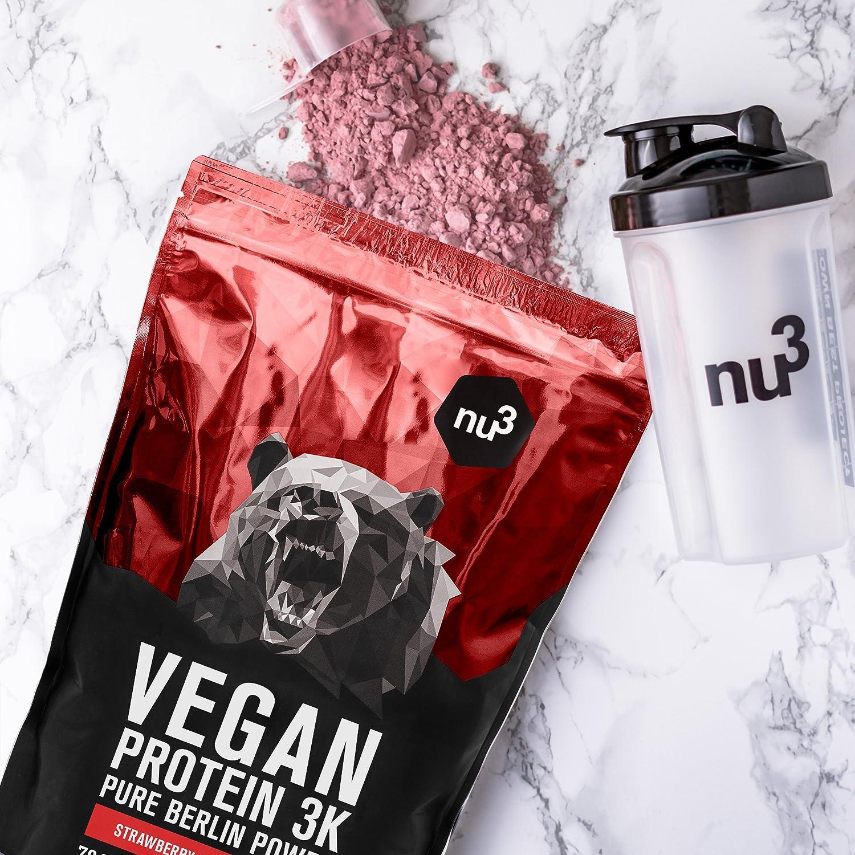 nu3 - Proteína vegana 3K - 1kg de fórmula - 70% de proteína a base de 3 componentes vegetales - Proteínas para el crecimiento de la masa muscular ...