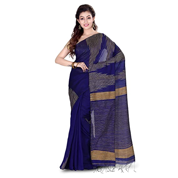4faa8564c453ae Wooden Tant Silk Ghicha Saree In Royal Blue With Blouse Piece  Amazon.in   Clothing   Accessories