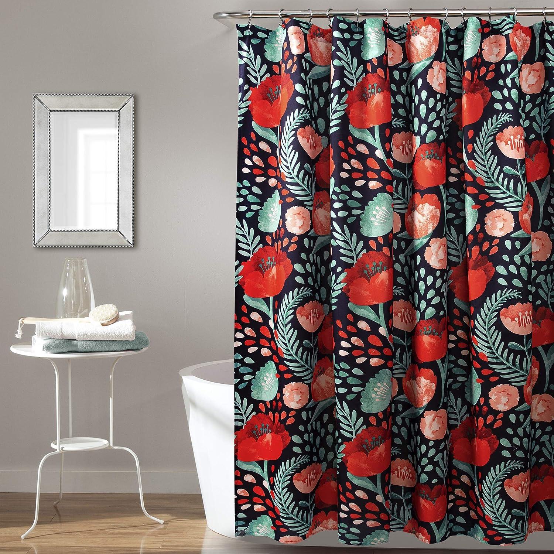 "Lush Decor, Navy Poppy Garden Shower Curtain, 72"" x 72"""
