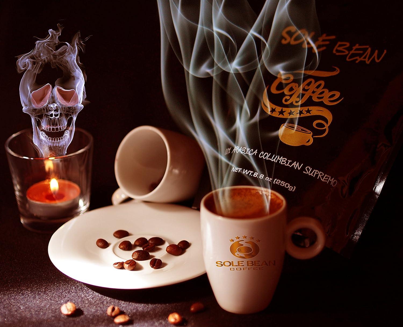 Sole Bean Coffee 100% Arabica Colombie Supremo grains de café. foncé rôti grains entier, 250g Paquet. parce que Café Est Une chose du cœur 8588006731002