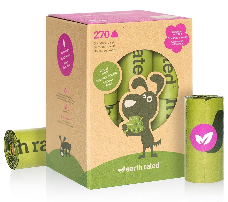 Earth Rated - Pack de bolsas para recoger excrementos de perro, Sin Olor , 8 Rollos (120 unidades) Sin Olor UNSBIO120