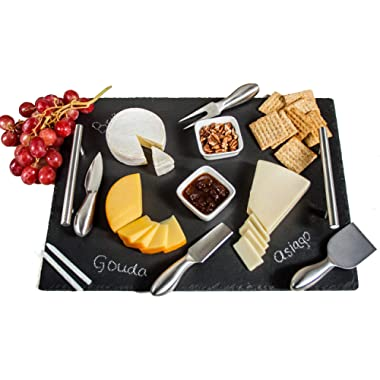 Slate Cheese Board Set | 9 pcs - 16  x 12  Serving Tray, Stainless Steel Cheese Knife Set with Ceramic Bowls + Soapstone Chalk