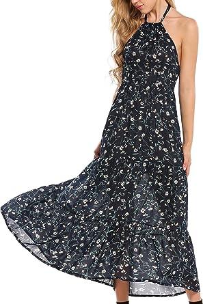 65b10d4b160 Meaneor Women Halter Floral Chiffon Backless Casual Maxi Beach Dress ...