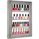MyGift Wall-Mounted Vintage Gray Wood 4-Tier Nail Polish & Essential Oil Rack