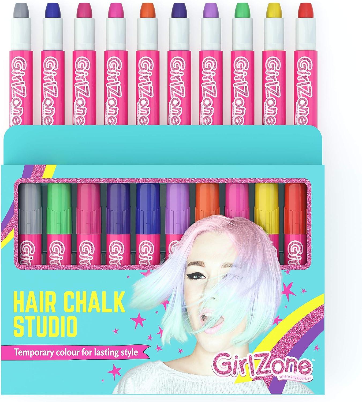 Regalos para Niñas | Tizas para el pelo | 10 Tizas de Color | Lavables | Fácil usar: 10 Colores Metálicos | Hair Chalk for Girls 3 4 5 6 7 8 9 10 11 12 Años