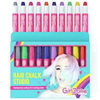GirlZone: Hair Chalk Set For Girls, 10 Piece Temporary Hair Chalks Color, Great...