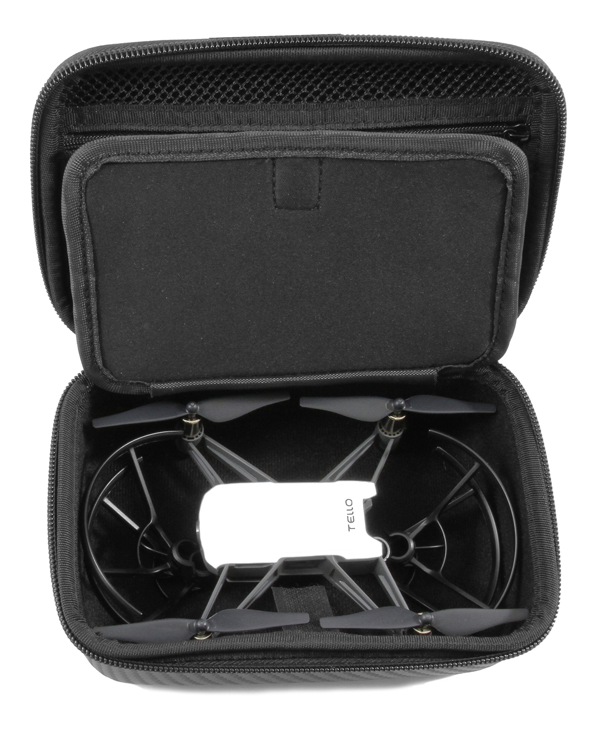 CASEMATIX Rugged EVA Travel Case For Tello Quadcopter Drone by DJI – Fits Tello Drone, Propeller Guards, Battery, USB Cable and More – PROP GUARDS MUST BE REMOVED BEFORE STORAGE