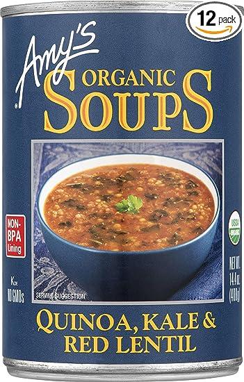 Amazoncom Amys Organic Soups Quinoa Kale Red Lentil 144