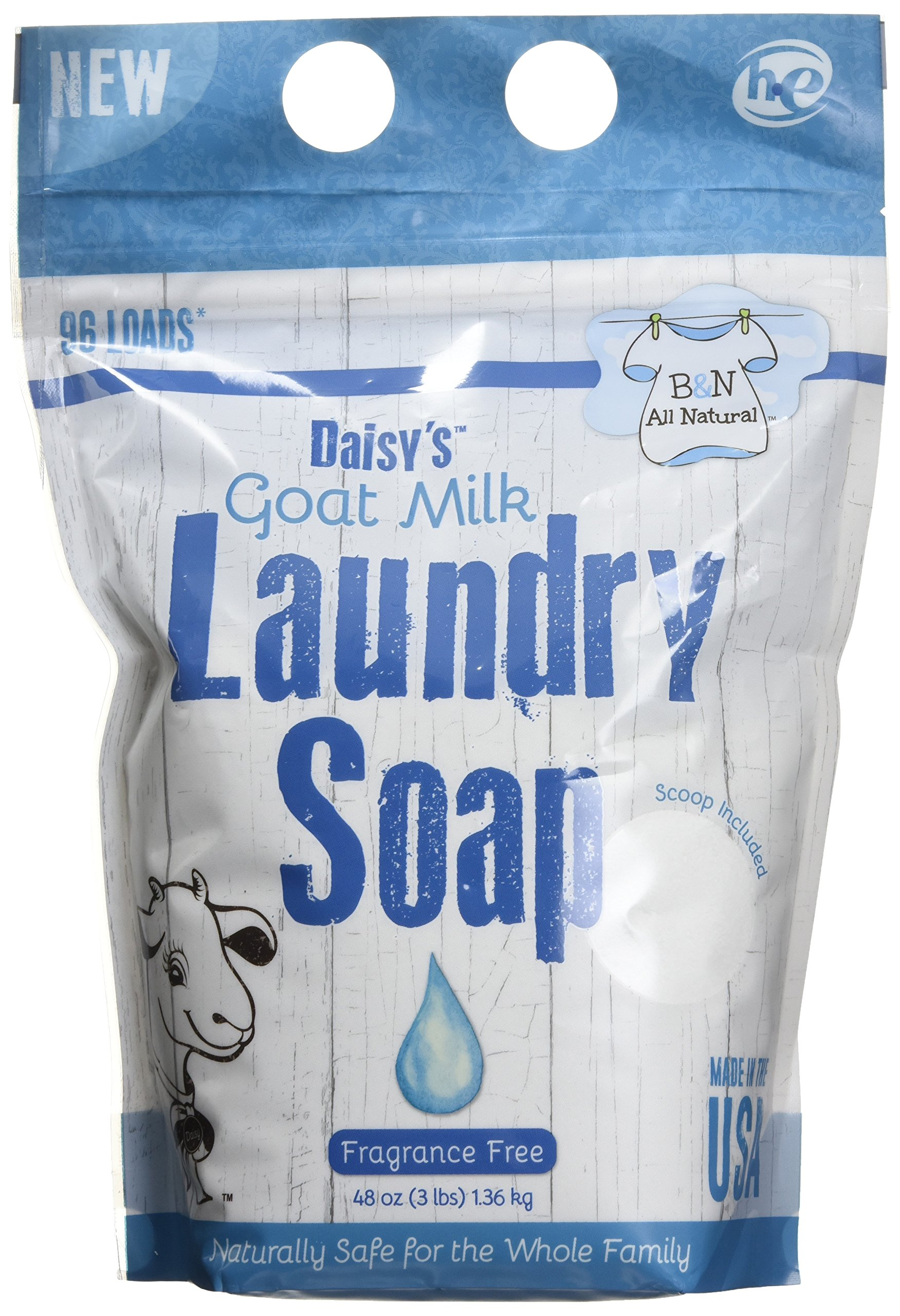 B&N All Natural Daisy's Goat Milk Powdered Soap Laundry Detergent, Fragrance Free, 48 Ounce - 96 Loads