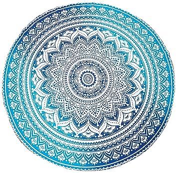 Jaipurhandloom Indio Mandala Redondo Roundie Beach Tiro Glorafilia Hippy Hippie Gypsy algodón Mantel Toalla de Playa, Redondo Esterilla de Yoga: Amazon.es: ...