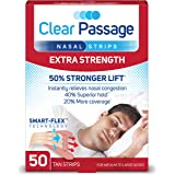 Clear Passage Nasal Strips Extra Strength, Tan, 50 Count   Works Instantly to Improve Sleep, Reduce Snoring, Relieve Nasal Co