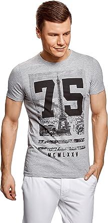 oodji Ultra Hombre Camiseta con Estampado Urbano y Dibujo: Amazon.es: Ropa y accesorios